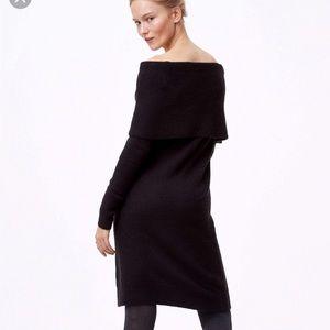 Loft Cozy Black Sweater Dress
